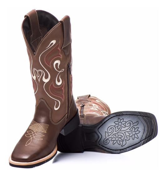 Bota Texana Feminina 100% Couro Mulher Country
