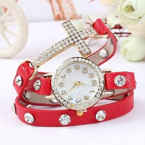 Relógio Feminino Com Pulseira Em Couro Com Strass Vintage
