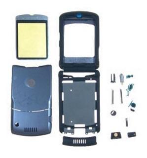 Carcasa Motorola V3i, Original. Negro / Fucsia.