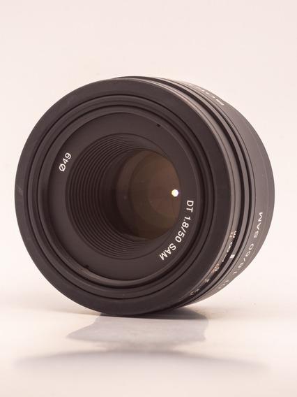 Lente 50mm Sony F1.8 A-mount Já Com Adaptador Para E-mount
