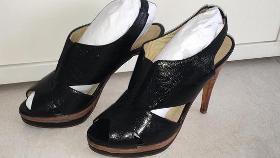 Sandalias De Cuero Blaque Número 38 Impecables