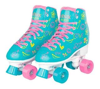Patins 4 Rodas Clássico Azul E Rosa Menina Rollerskate Ajust