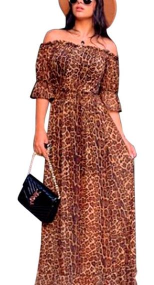 Vestido Longo Estampa Animal Print Roupas Femininas Top