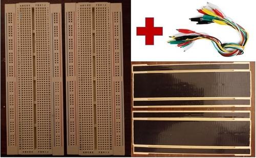 Imagen 1 de 4 de Paquete 2 Protoboard Ensamble Deslizable (1 Bloque, 2 Tiras)