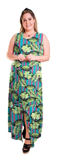 Roupa Feminina Vestido Longo Com Babado Plus Size +56