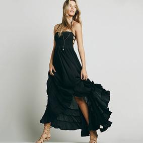 Sexy Mujeres Boho Maxi Vestido Cabestro Vendaje Escotado Por