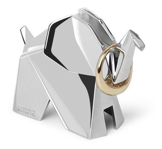 Elefante Origami - Porta Anéis Umbra Cromado