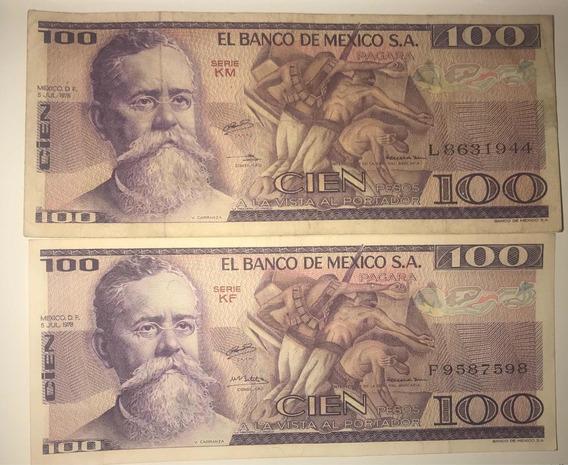 2 Billetes100 Pesos Venustiano Carranza 1974 A 1982 Antiguo