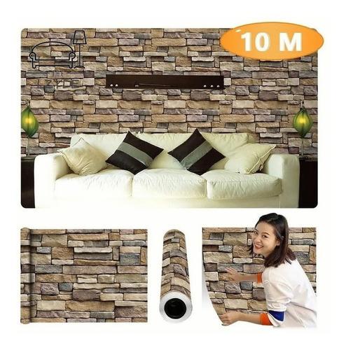 Imagen 1 de 10 de Papel Tapiz Piedras Laja Adhesivo 45cm X 10 Mts 3d
