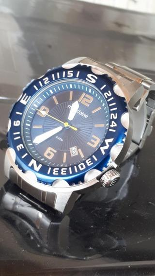 Relógio Mondaine Masculino Azul Pulseira Aço Prata