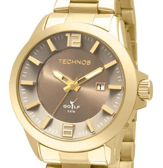 Relógio Technos Masculino Classic Golf Dourado 2115krm/4c + Nf-e