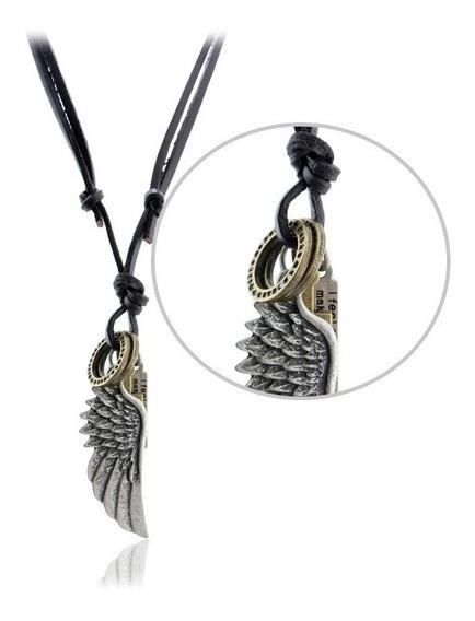 Colar Amuleto Masculino Couro Pingente Asa De Anjo Proteção