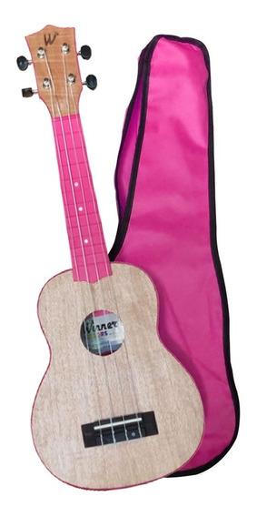 Ukulele Winner Soprano 21 C/ Capa Colorido Rosa Pink Okume
