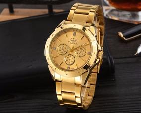 Relógio Masculino Dourado Novo Presente Natal Pronta Entrega