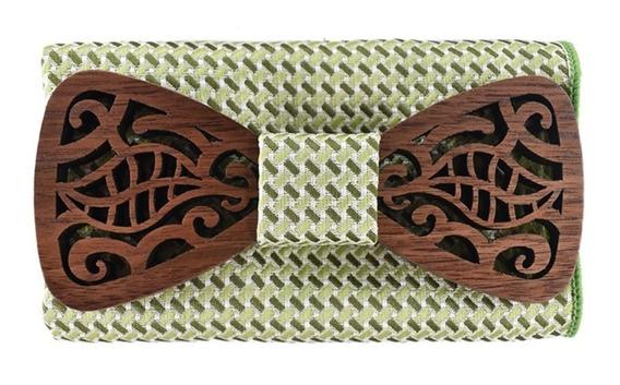 Humita Madera Corbata Moño Con Pañuelo Pajarita Diseño