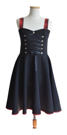 Vestido Dark Gótico Alternativo Gothabilly Negro Corset