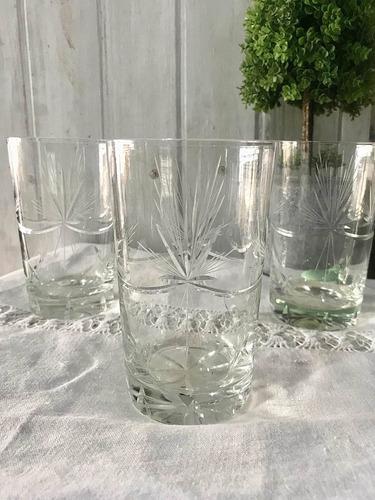 Antiguos 3 Vasos Grandes De Cristal Tallado