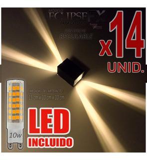 Aplique Difusor Pared Exterior C/ Led Incluido 10w Pack X14u