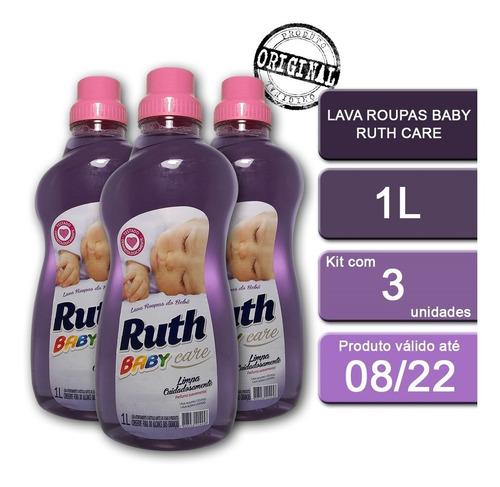 Kit 3 Frascos Sabão Líquido Lava Roupas Ruth Care Baby 1l