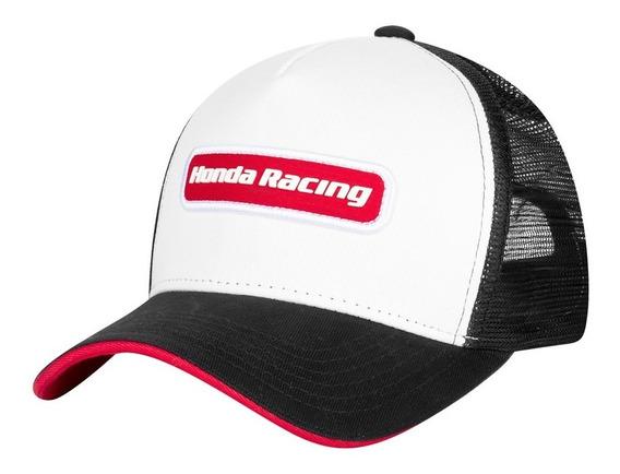 Boné Trucker Moto Honda - Patch - Branco/preto/vermelho - Coleção Racing