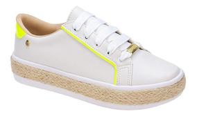 Tenis Feminino Casual Sola Corda Flatform Alta Branco / Neon