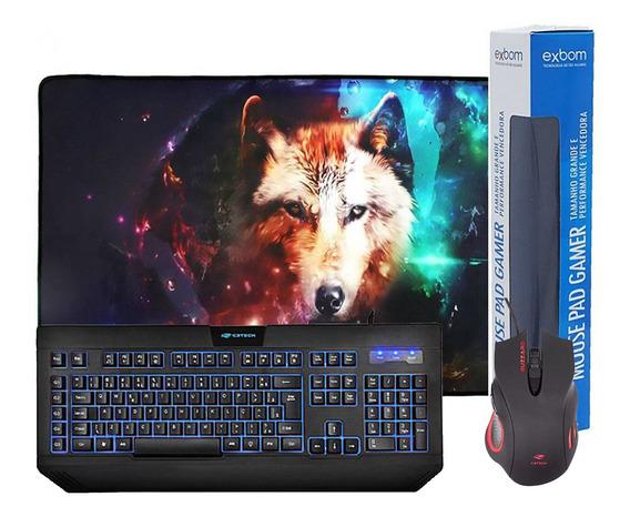 Kit Gamer Teclado C/ Macro + Mouse 3200dpi + Mouse Pad Lobo