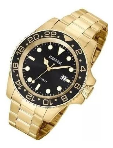 Relógio Magnum Masculino Dourado Ma32934u Barato