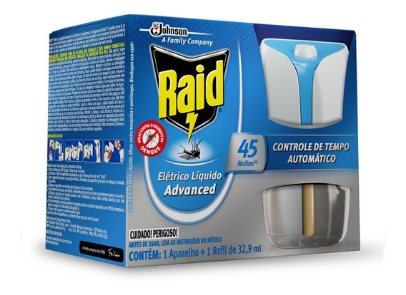 Repelente Raid Eletrico Liquido Advanced 45 Noites Automatic