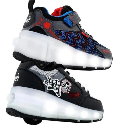 Imagen 1 de 7 de Zapatillas Footy Con Ruedas Roller Luces Led Recargables Usb