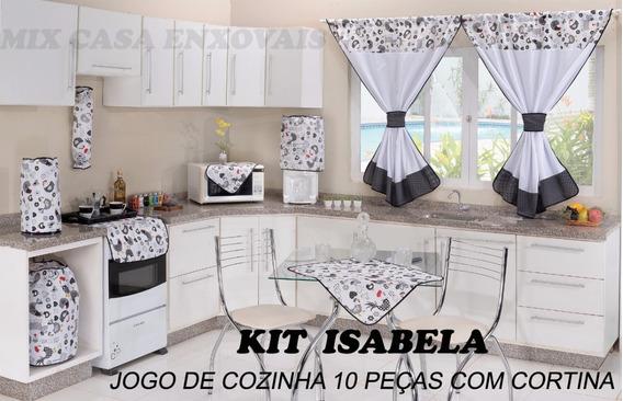 Kit Jogo De Cozinha C/cortina+cortina De Pia E Toalha De Mesa 6 Cadeiras 12pç Isabela