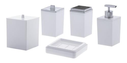 Jogo Banheiro Em Acrílico 5 Peças Lavabo Branco Paramount