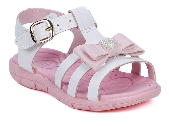 Sandália Klin Infantil Para Bebê Menina - Branco/rosa