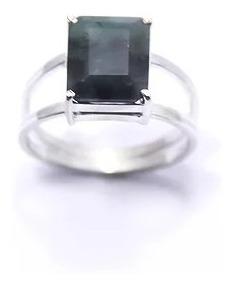 Anel Com Pedra Esmeralda Natural Em Prata 950