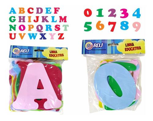 Letras E Números Em Eva Kit Completo 36 Pçs - 14cm Altura
