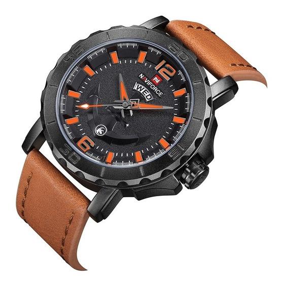 Relógio Masculino Militar Naviforce Pulseira Couro