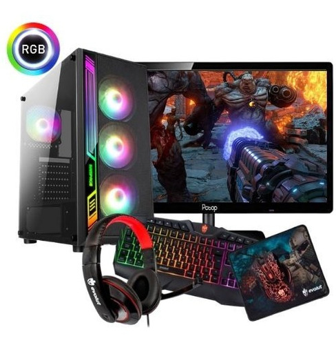 Pc Gamer 8gb Gtx 1030 + Kit Monitor Teclado Mouse Headset