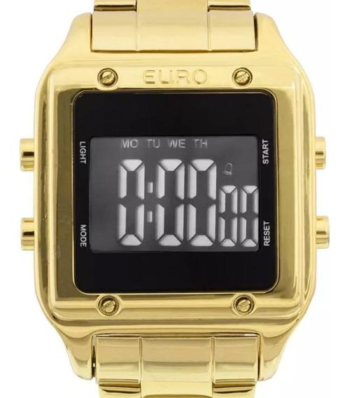Relógio Euro Feminino Dourado Quadrado Digital Eug2510aa/4p