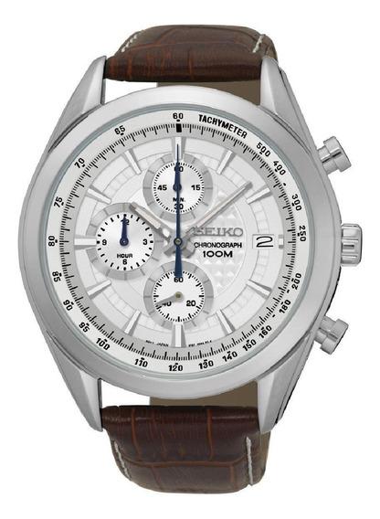 Relógio Seiko Masculino Couro Marrom Cronógrafo Original Ssb181b1 B1mb