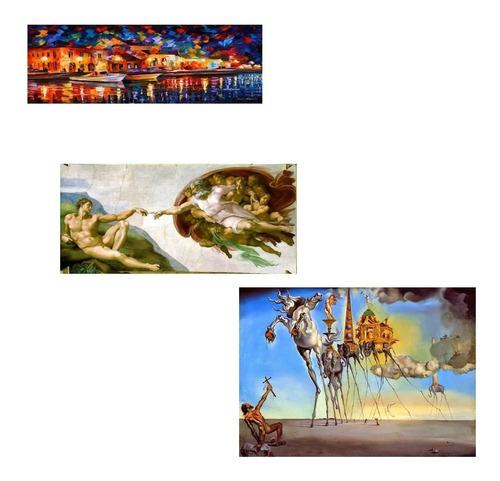 Imagem 1 de 2 de Kit 3 Posters Hd Foto Afremov Michelangelo Salvador Dali