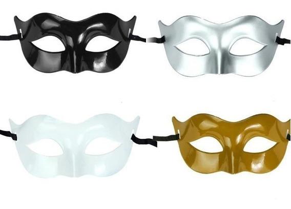 12 Antifaces Negro, Blanco, Dorado, Plata Carnaval Batucada