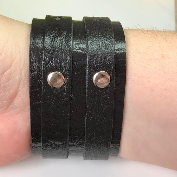 Pulseira Bracelete Masculina De Couro 2 Fivelas - Bijuteria
