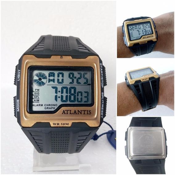 Relogio Digital Masculino Atlantis A7472 Quadrado Original Prova Dágua 12x S/ Juros