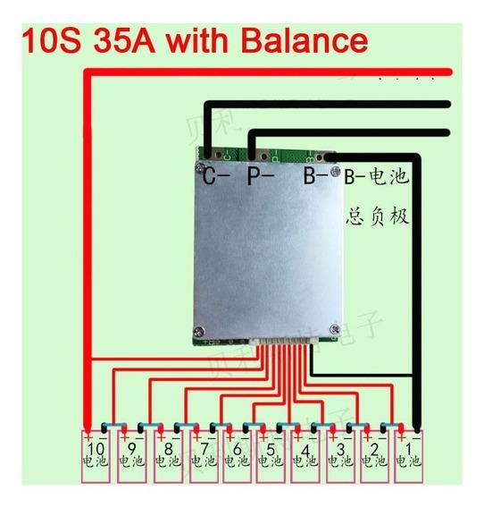 Proteção Bms 18650 Li-ion 36v - 10s