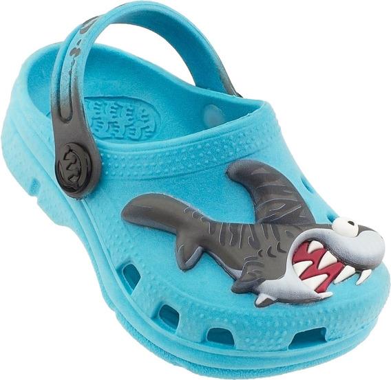 Babuche Crocs Plugt Infantil Turquesa Baby Shark Tubarão