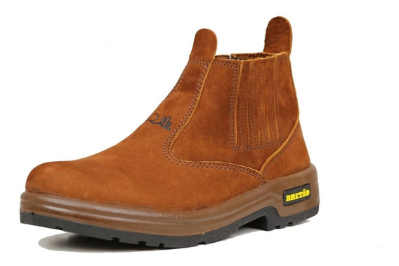 Botina Em Couro Nobuck Linha Agrícola Bretão Boots Solado Pu