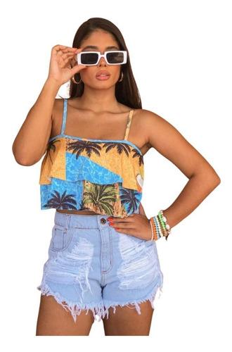 Imagem 1 de 3 de Shorts Jeans Praia Feminino Cintura Alta Manchado St010