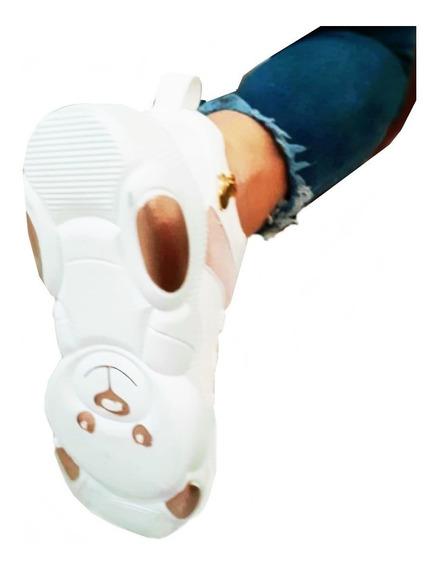 Tenis Plataforma Blanco Sneakers Suela Oso Zapato Envio Grat