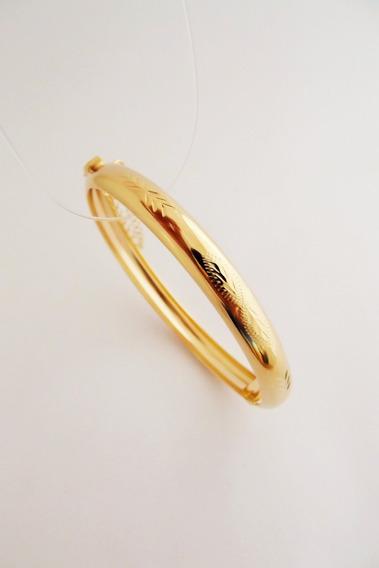 Bracelete Algema Redondo Médio Folheado Ouro 18k.
