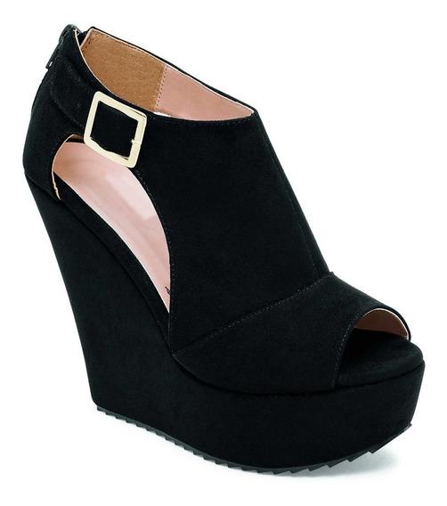 Zapato Casual De Plataforma Viabella Modelo 6051 Color Negro