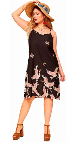Vestido Shein Fresco Estampa Aves Talle Especial 2x 3x 4x